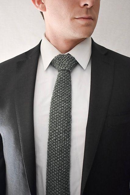 corbatas tejidas dos agujas unicolor
