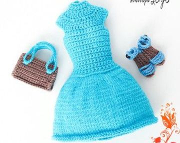 vestidos a crochet para muñecas con accesorios