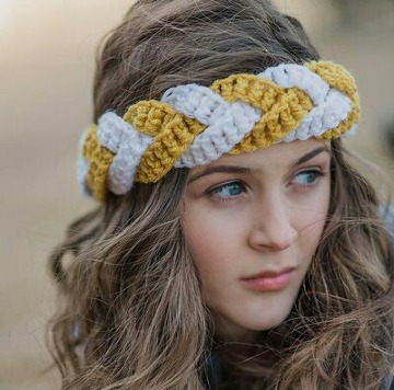 diademas tejidas a crochet trenzadas