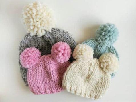 gorros con pompones para bebe lana