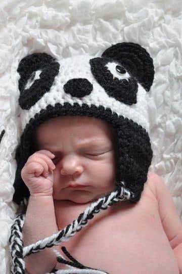 gorros tejidos de panda a crochet