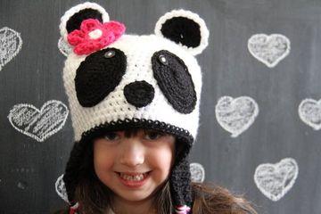 gorros tejidos de panda de niña