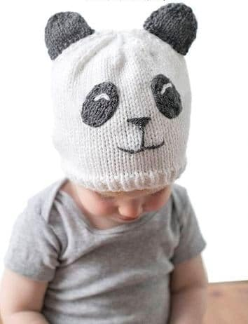 gorros tejidos de panda para bebes