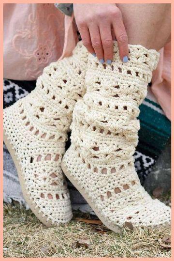 imagenes de botas tejidas de mujeres