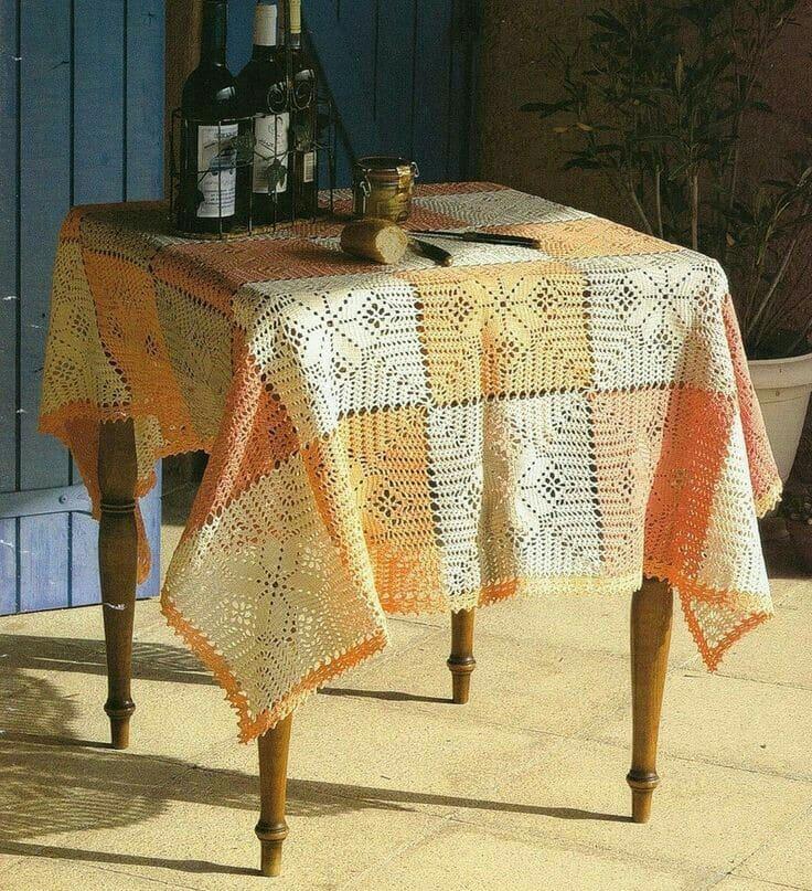 manteles tejidos a crochet para mesa cuadrada