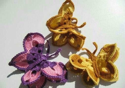 mariposas tejidas a crochet grandes