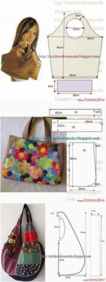 patrones de bolsos y carteras de tela
