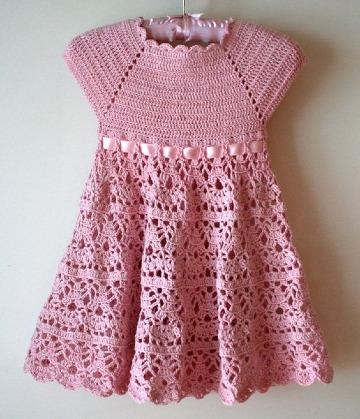 como hacecr vestidos a crochet para niñas de 2 años