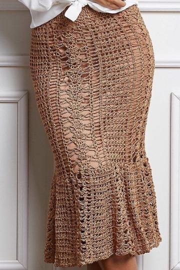 adea77634 Favorecedoras faldas largas en crochet paso a paso - Tejidos a ...