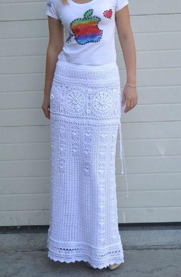 diseños de faldas largas en crochet paso a paso