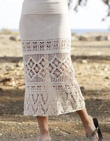 faldas largas en crochet paso a paso para mujeres