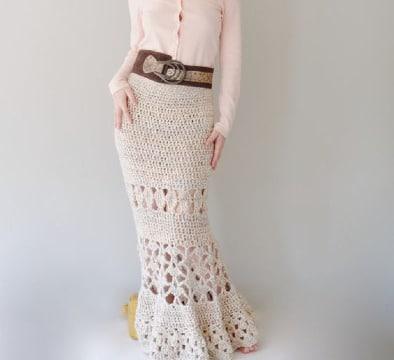 imagenes de faldas largas en crochet paso a paso