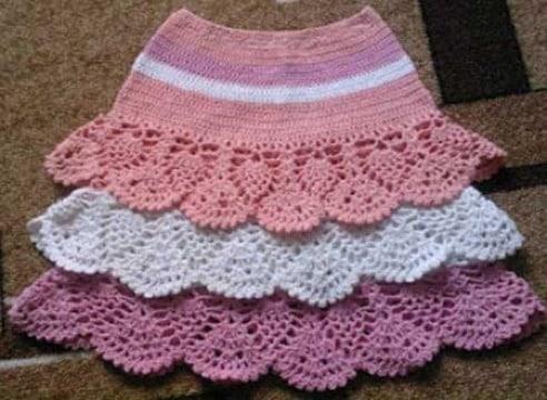 modelos de faldas tejidas a crochet para niñas