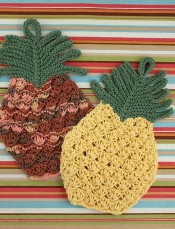 bonitas agarraderas a crochet en forma de frutas