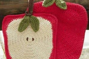4 diseños de agarraderas a crochet en forma de frutas