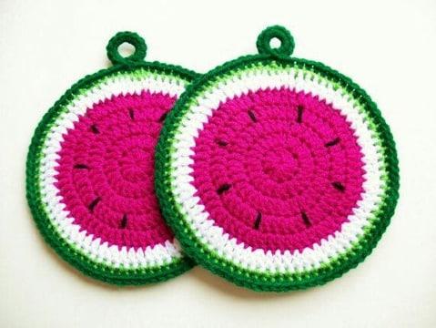 imagenes de agarraderas a crochet en forma de frutas