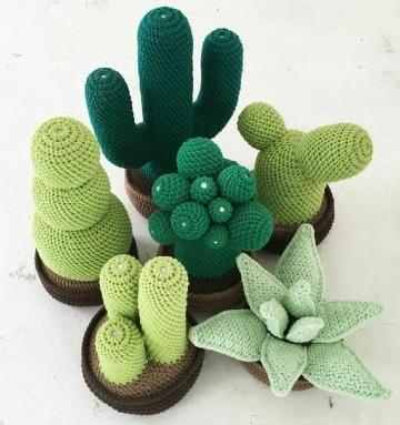 imagenes de como hacer cactus a crochet