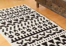 4 nudos diversos en tapetes a crochet rectangulares