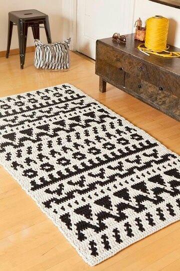 modelos de tapetes a crochet rectangulares