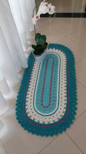 modelos de tapetes ovalados tejidos a crochet