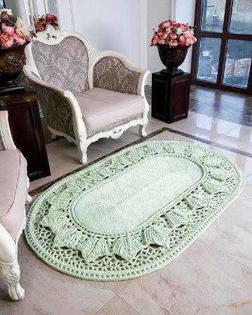 tapetes ovalados tejidos a crochet para sala