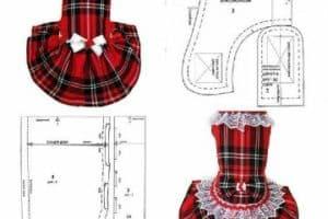 4 esquemas, ejemplos patrones de vestidos para perritas