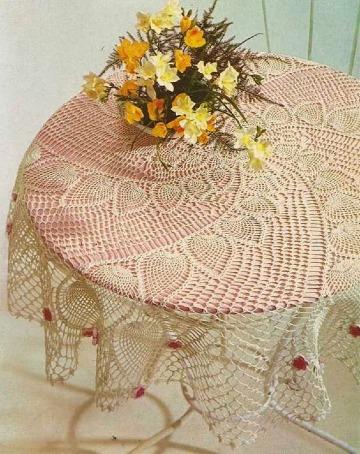manteles de mesa tejidos a crochet redondos