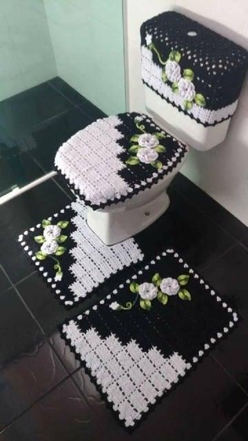 adornos tejidos a crochet para el baño sencillo