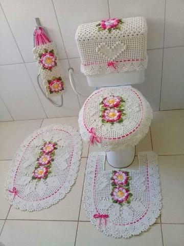 como hacer juegos de baño tejidos facil