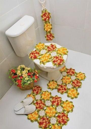 como hacer juegos de baño tejidos originales