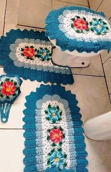 imagenes de como hacer juegos de baño tejidos