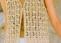 3 diversos puntos a crochet para chalecos largos y cortos