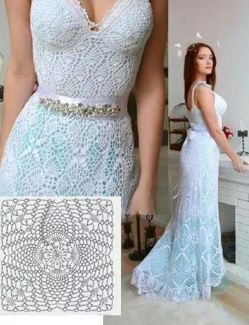 puntos a crochet para vestidos elegantes
