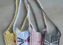 5 colores en carteras tejidas a crochet para niña