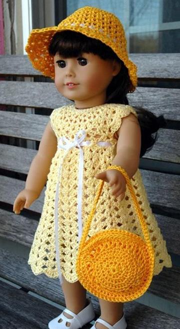 carteras y vestidos de muñecas tejidas a crochet