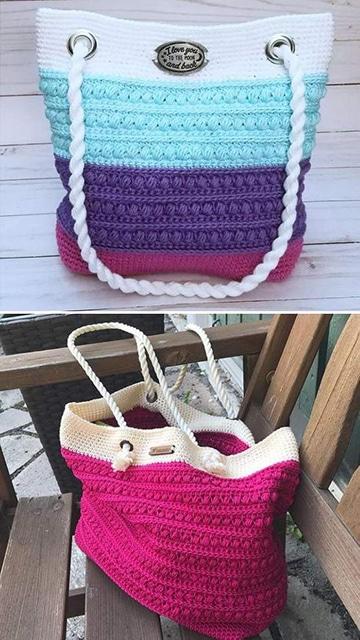 colección de bolsas tejidas a gancho para dama