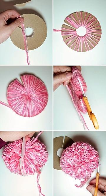 como hacer pompones con lana paso a paso