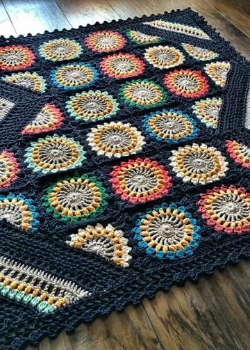 cuadros tejidos a crochet para colchas con flores
