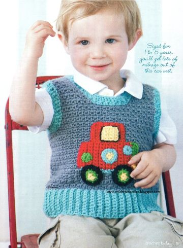 patrones de como tejer un chaleco para niño