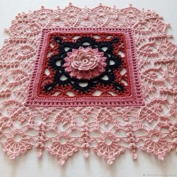 tapetes a crochet cuadrados de flores