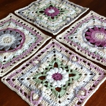 pastillas tejidas a crochet para colchas a cuadros