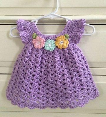 vestidos tejidos a crochet para niña bebe