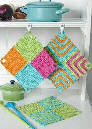 agarraderas de ollas tejidas a crochet faciles de hacer