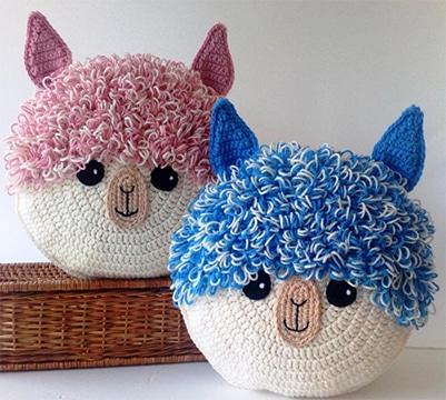 cojines tejidos a crochet de animales
