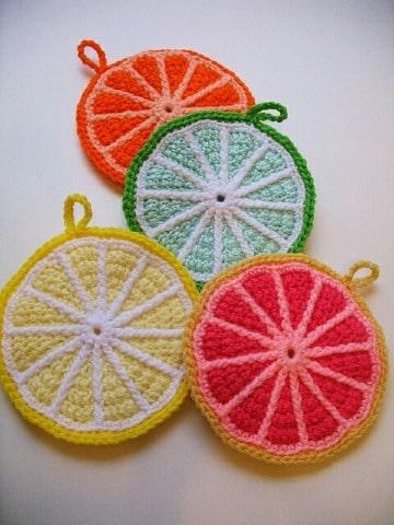 como hacer agarraderas de ollas tejidas a crochet