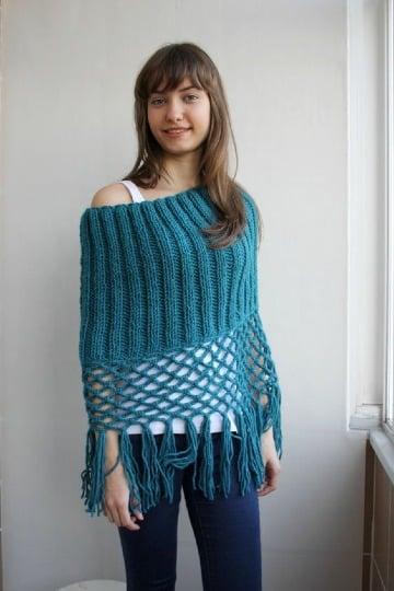 capas circulares tejidas a gancho para mujer