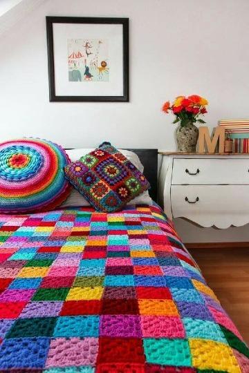como hacer colchas hechas a crochet