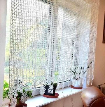 cortinas tejidas a crochet para ventana