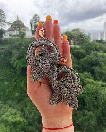 diseños de aretes tejidos a crochet