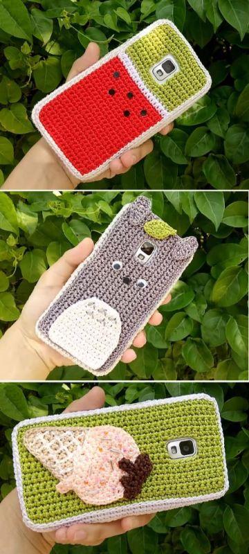 mini bolsitas a crochet para celular